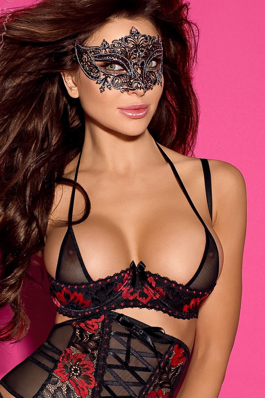 amazing price great look in stock Axami V-5951 Magma glamour sensual shelf bra | Black-Red