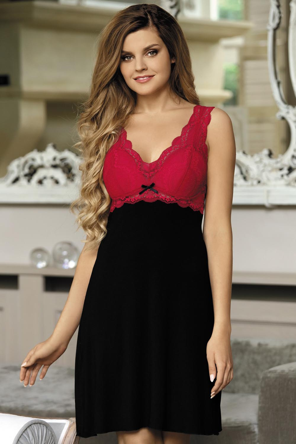 ... Babella Larisa women s nightdress lace padded cups chemise v neck ... 951ca0868