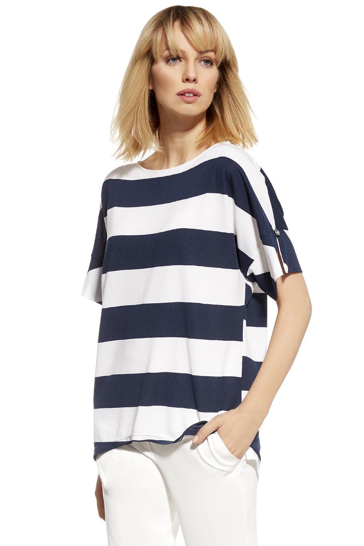 5423697a37f168 Ennywear 230114 women's kimono blouse marine striped pattern short sleeves  | White -Dark Blue