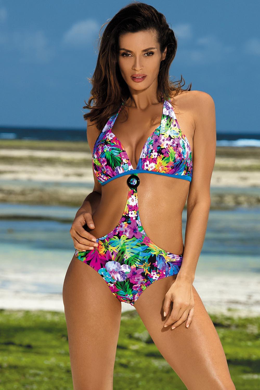 e6ad344ff6d Marko Sandra M-431 one piece swimsuit padded cups floral pattern halterneck  | Blue-Multicoloured