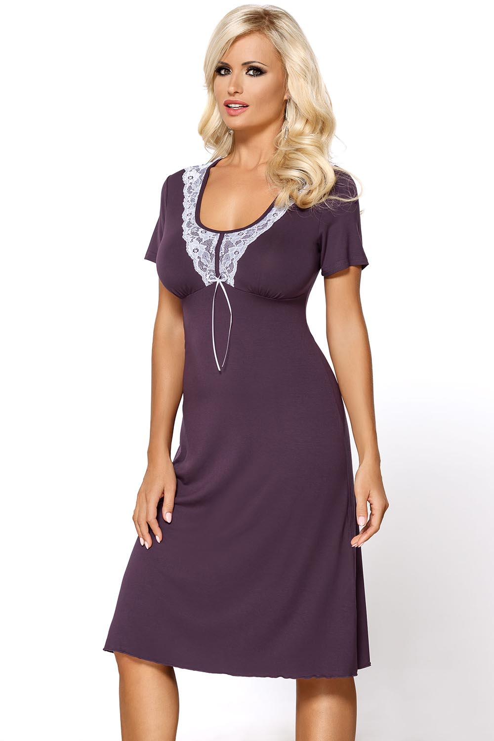 Vivisence Livia 2006 women s nightdress lace short sleeves smooth round  neck  e28a3b8d3