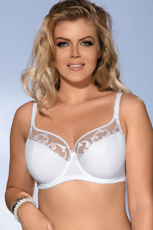 Ava 1352 underwired half padded full cup bra with embroidery adjustable straps