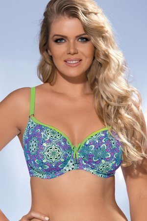Ava SK-42 padded underwire swimsuit top with colourful pattern