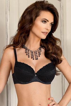 Nipplex Melanie underwired padded push-up bra with pockets embroidery strapless