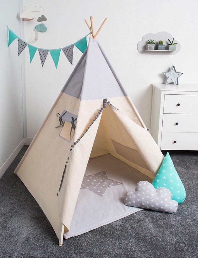 Cozydots kids play tent indian fun indoor outdoor TeePee & Cozydots kids play tent indian fun indoor outdoor TeePee | Light Grey