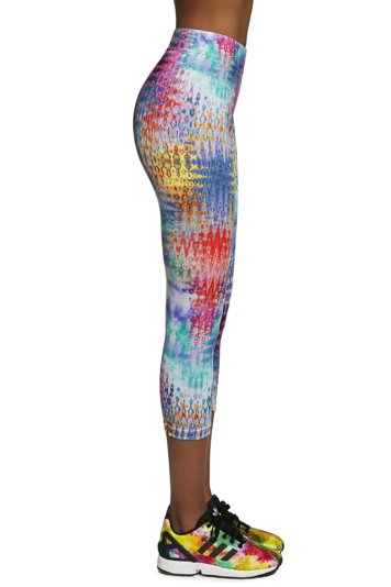 Bas Bleu Tessera 70 women's sports 3/4 leggings with multicoloured pattern