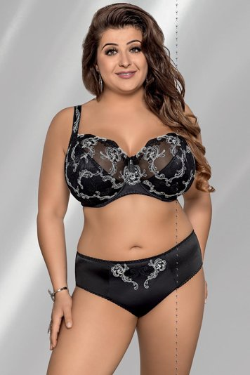 Gorsenia K217 Grace underwired non padded full cup bra maxi plus size embroidery
