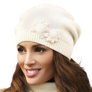 Kamea Abella women's woolen beanie mono colour plain with decoration