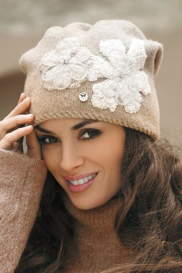 Kamea Inez-Medium women's woolen beanie two-colour plain with flower application