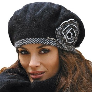 Kamea Manuela women's woolen beret bicolour with flower application