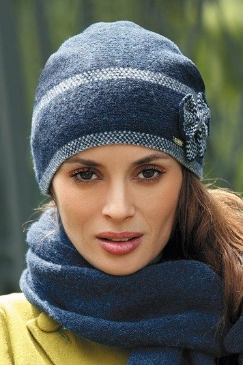 Kamea Ria women's woolen beanie two-colour with herringbone stitch
