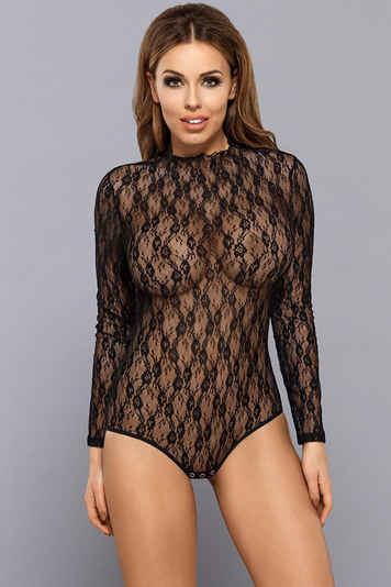 Vestiva BD 003 women's lacy long sleeved body transparent crotch closure