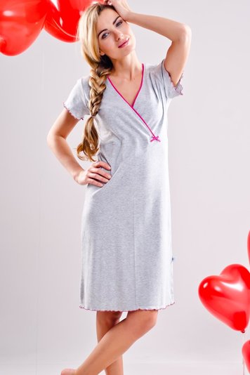 dn-nightwear 1055 classic comfortable short sleeve loose waist nightdress