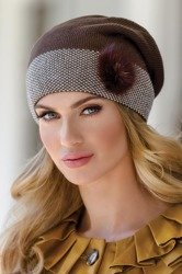 Eterno Gracja women's beanie hat two-colour with faux fur application