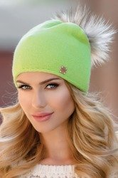 Eterno Pia women's beanie hat with pompom not patterned mono colour casual