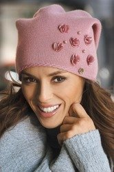 Kamea Clarisa women's woolen beanie mono colour plain with flower decorations