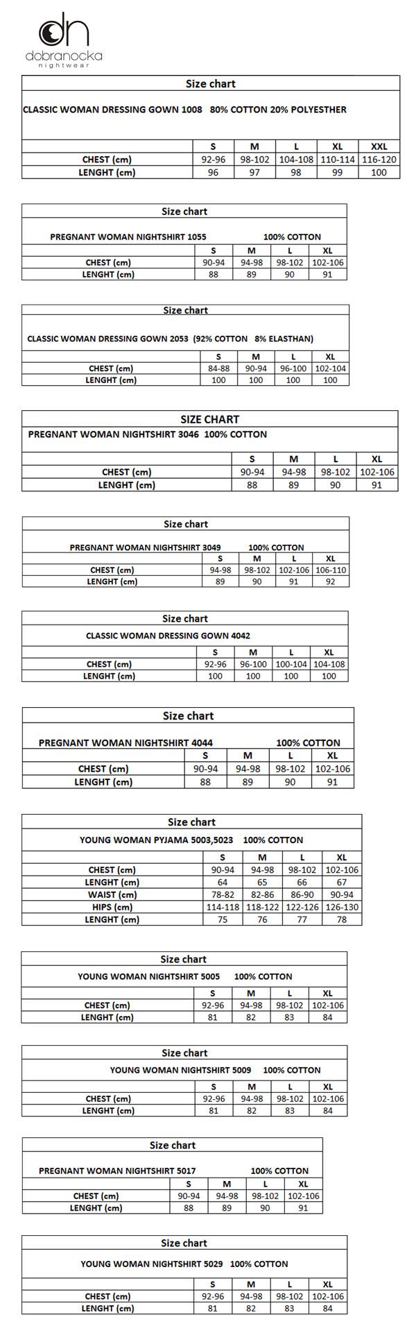 Dobranocka size chart