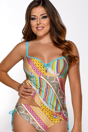 Ava ST-9 underwired padded tankini top dots paisley