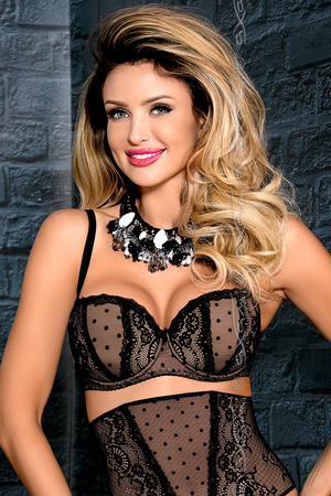 Axami underwired lace padded push-up balcony bra polka dot V-7671 Salma