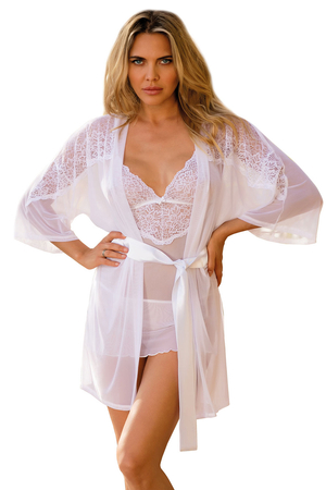 Dkaren sexy lace sheer dressing gown Costance