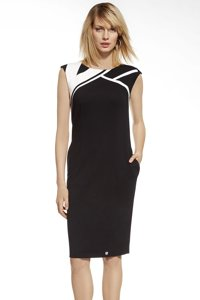 Ennywear 230003 women's sleeveless dress monochrome pattern boat neckline