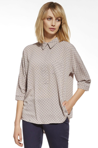 Ennywear 230008 women's 3/4 sleeved patterned shirt casual oversize