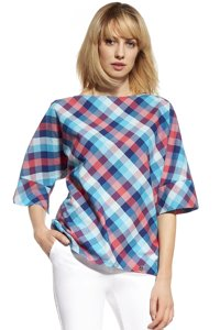 Ennywear 230103 women's checkered kimono blouse 3/4 sleeves oversize