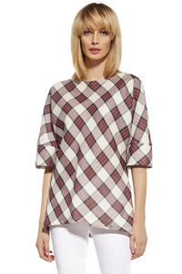 Ennywear 230112 women's checkered kimono blouse 3/4 sleeve oversize