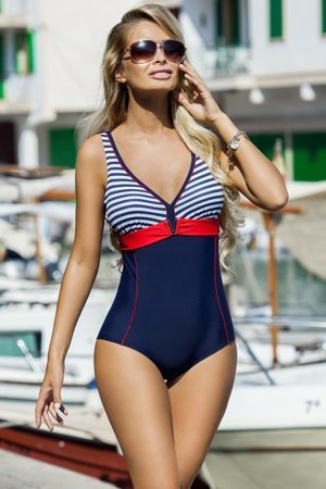 Ewlon Aqua women's nautical monokini striped pattern removable inserts