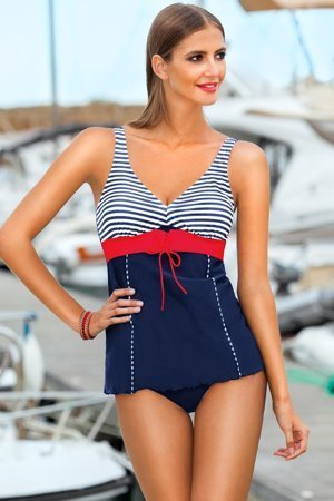 Ewlon Diana I womens stylish striped padded tankini set swimwear