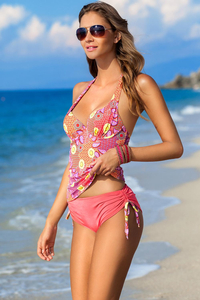 Ewlon Naomi womens stylish summery paisley padded bra tankini set