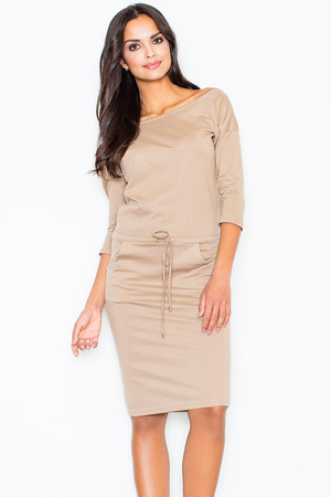 Figl 203 casual sweatshirt 3/4 sleeve midi dress with drawstring waist and stylish slash neckline