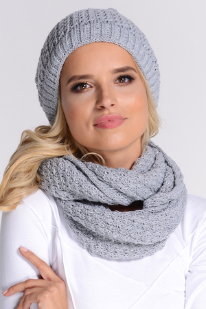 Fil'loo CD-116 women's hat and snood set smooth plain warm winter