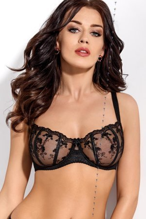 Gorsenia K292 Salma underwired non-padded balcony bra with floral embroidery