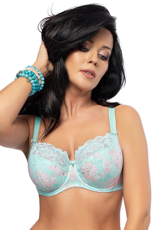 Gorsenia underwired floral lace semi padded bra K473 Feelling Blue