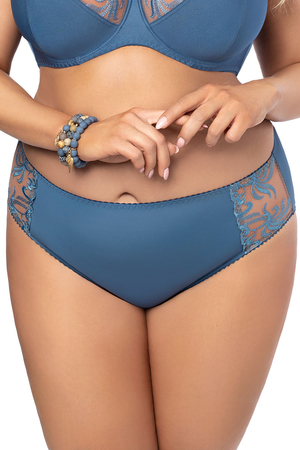 Gorsenia women;s embroidered high waist briefs K488 Blue Tatoo