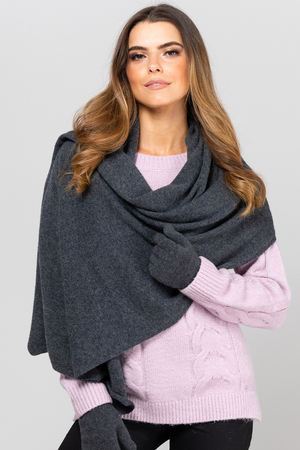 Kamea women's smooth woolen scarf Szalik 01