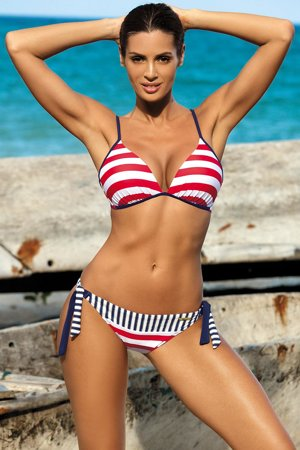 Marko Anna M-440 padded bikini set marine stripes pattern adjustable straps