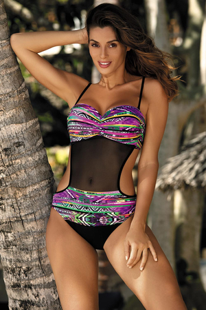 Marko Melania M-426 women's one-piece swimsuit monokini removable straps pattern