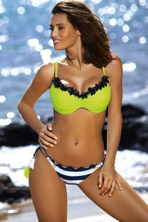 Marko padded striped neon bikini set Andrea M-447