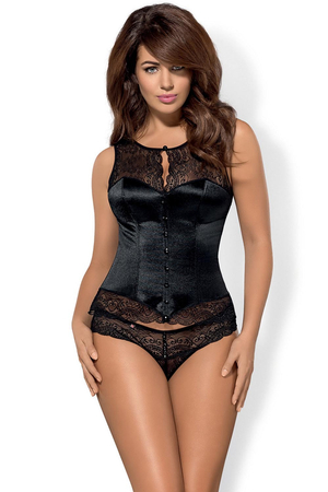 Obsessive Miamor black lacy corset with side-seam boning and fitting lacing