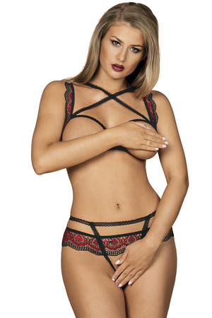 Obsessive sexy ladies open bra crotch lace set Megies