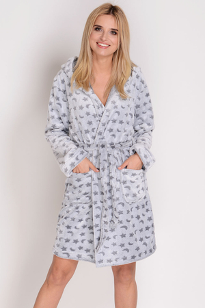 Sesto Senso women's hooded warm robe patterned Natalia