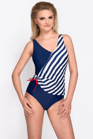 Vivisence 3103 one piece swimsuit soft cups removable pads stripes marine style