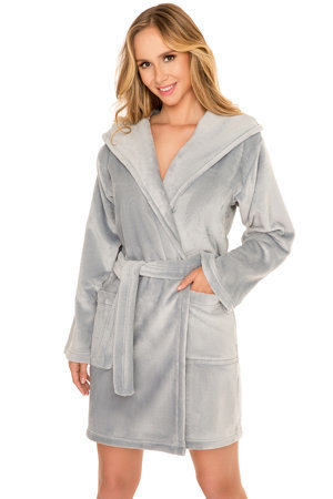 Vivisence long sleeved hooded smooth dressing gown 5004