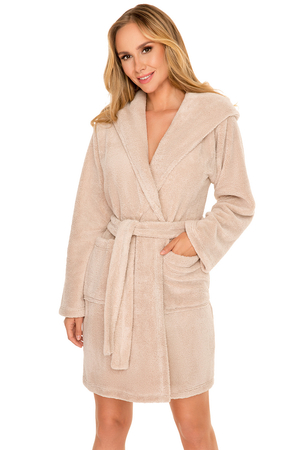 Vivisence long sleeved hooded smooth dressing gown  5008