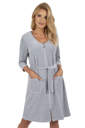 Vivisence women's smooth 3/4 sleeved zipped dressing gown 5011