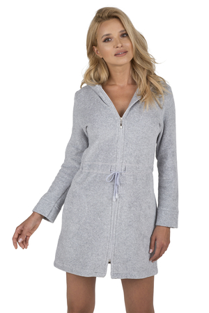 Vivisence women's smooth zipped dressing gown  5012