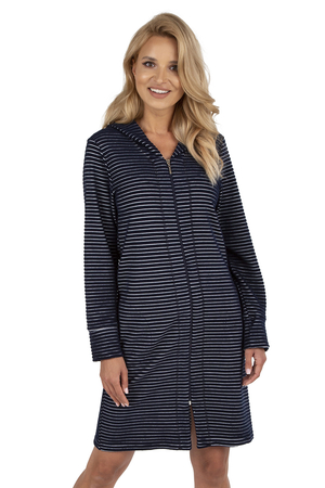 Vivisence women's striped long sleeved zipped dressing gown 5014