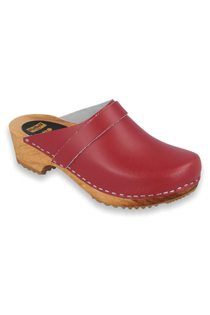 Vollsjo women's genuine leather wooden clogs